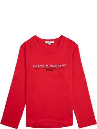 Givenchy Long-sleeved T-shirt In Red Cotton With Logo Print