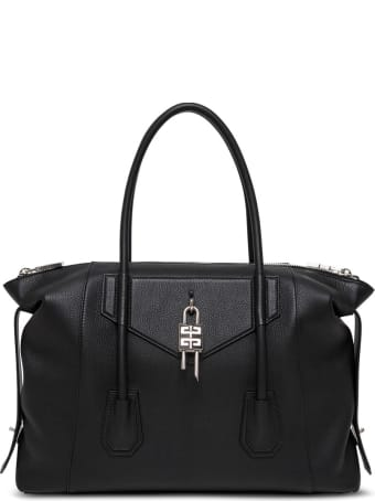 Givenchy Antigona Lock Handbag In Black Leather