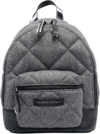 Brunello Cucinelli Unisex Gray Backpack