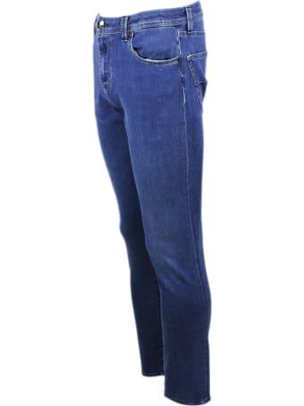 Sartoria Tramarossa Leonardo Slim Jeans In Bi-stretch Denim With 5 Pockets With Tailored And Initial Stitching