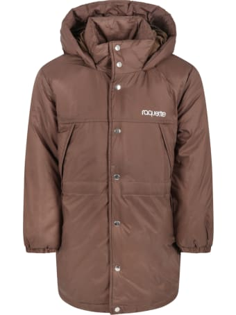 Raquette Brown Jacket For Kids With Silver Logo