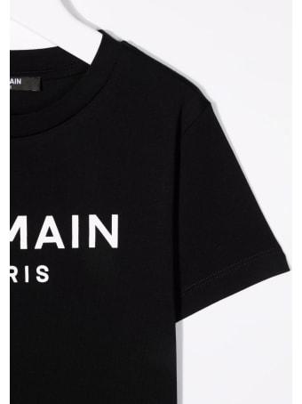 Balmain Kids Black T-shirt With White Logo Print