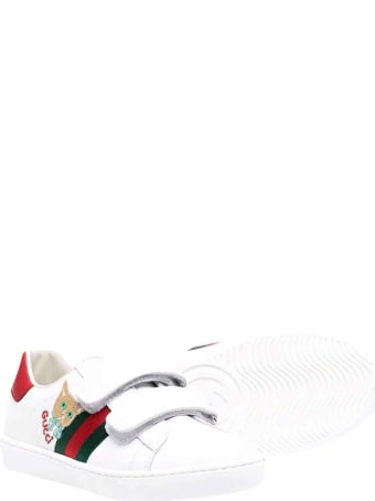 Gucci White And Red Sneakers With Strap Frontal Closure, Round Tip And Logo