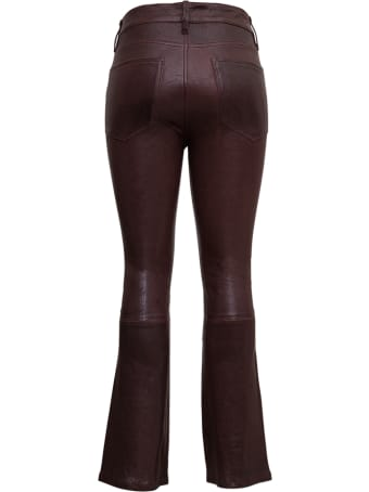 Frame Brown Leather Pants With Flared Bottom