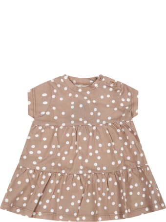 Douuod Beige Dress For Babygirl With Polka-dots