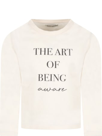 The New Society Ivory ''the Art Of Tee'' T-shirt For Kids With Writing
