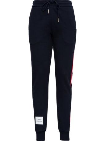 Thom Browne Blue Cotton Jogger With Rwb Stripe Inserts