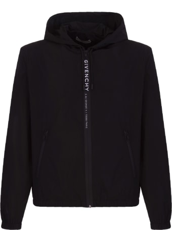 Givenchy Logo Stripe Hooded Windbreaker