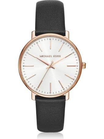 Michael Kors Pyper Gold Tone Black Leather Watch