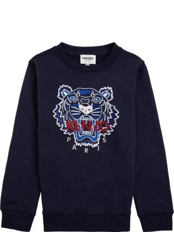 Kenzo Kids Blue Cotton Sweatshirt With Logo