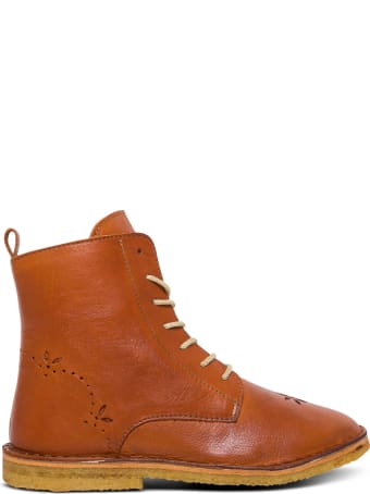 Emile Et Ida Brown Leather Boots With Inlaid Flowers Detail