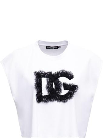 Dolce & Gabbana Cotton Crop T-shirt With Logo