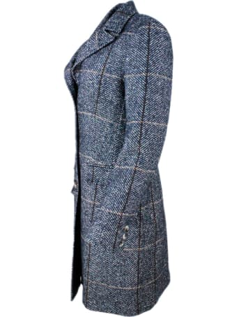 Barba Napoli Single-breasted Coat In Herringbone Wool And Alpaca With Closure Buttons And Flap Pockets