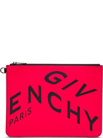 Givenchy Fragment Clutch In Leather With Contrasting Logo Print