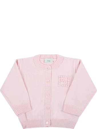 Fendi Pink Cardigan For Baby Girl With Embroidered Logo