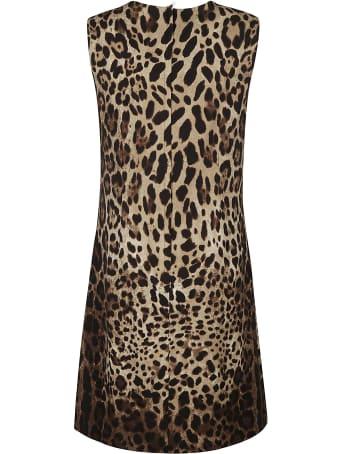 Dolce & Gabbana Rear Zip Sleeveless Animalier Dress
