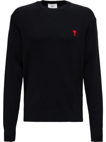 Ami Alexandre Mattiussi Black Wool Sweater With Logo
