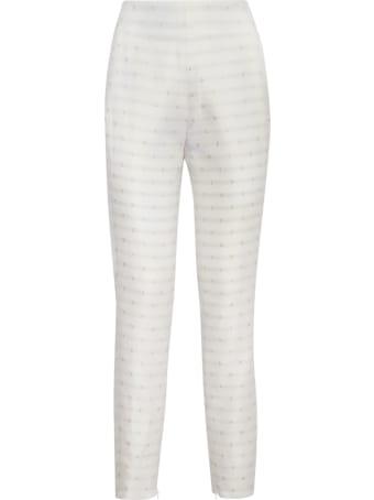 Genny White Jacquard Trousers With Lamé Details