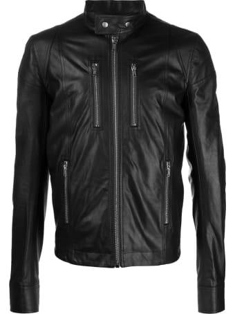 Rick Owens Black Leather Biker Jacket