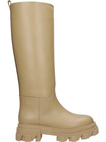 Gia X Pernille Teisbaek Perni 07 Low Heels Boots In Beige Leather