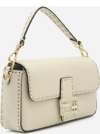 Fendi White Leather Baguette