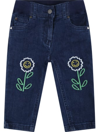 Stella McCartney Kids Blue Jeans For Babykids With Daisies