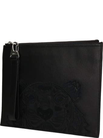 Kenzo Clutch In Black Leather