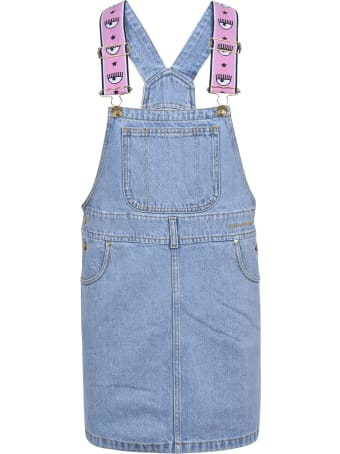 Chiara Ferragni Logomania Salopette Denim Dress