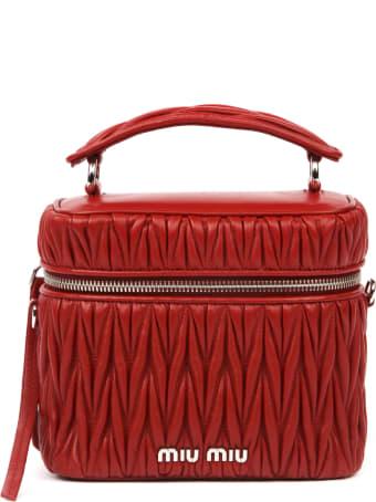 Miu Miu Red Handbag In Matelassé Effect Leather