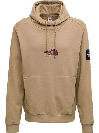 The North Face Beige Cotton Hoodie With Logo Print