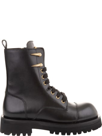 Roberto Cavalli Woman Black Ankle Boot With Tiger Teeth