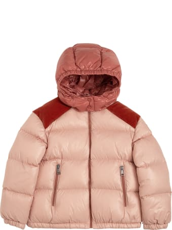 Moncler Pink And Red Nylon Down Jacket With Logo Print