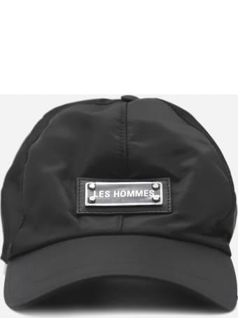 Les Hommes Nylon Twill Baseball Cap With Logo Detail
