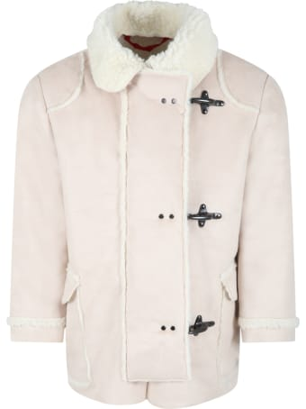 Fay Beige Jacket For Kids With Ivory Details