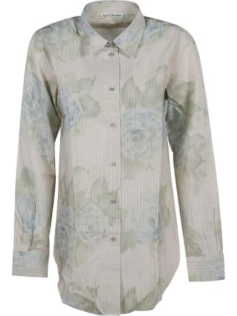 Acne Studios Rose Print Stripe Shirt