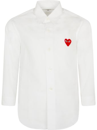 Comme des Garçons Play White Shirt For Kids With Iconic Heart