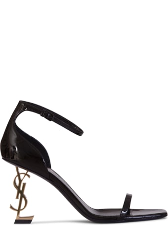 Saint Laurent Opyum Sandals In Patent Leather With A Gold-toned Heel