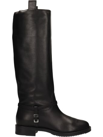 Sergio Rossi Low Heels Boots In Black Leather