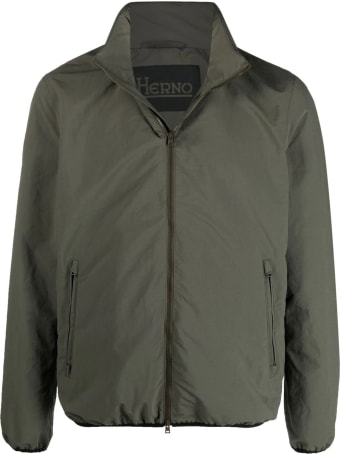 Herno Military Green Zipped Jacket