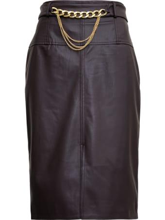 Liu-Jo Longuette Leatheret Skirt With Chain Belt Detail