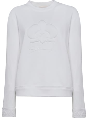 Genny White Orchid Embossed Cotton-blend Sweater