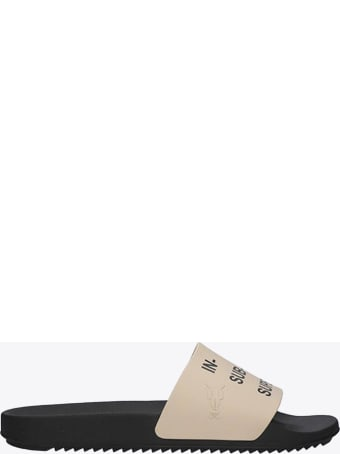 DRKSHDW Beige Rubber Slide With Slogan Print