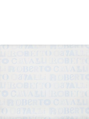 Roberto Cavalli White Blanket For Baby Boy With Logos