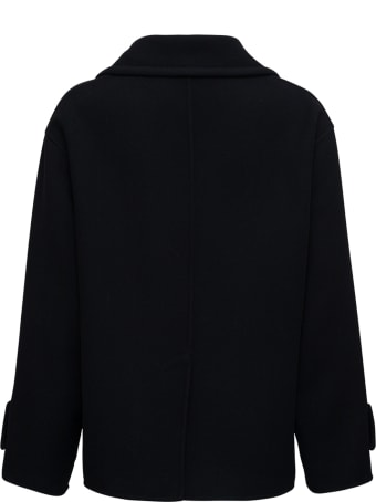 Valentino Double-breasted Black Wool Coat