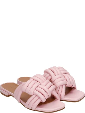 Julie Dee Flats In Rose-pink Leather