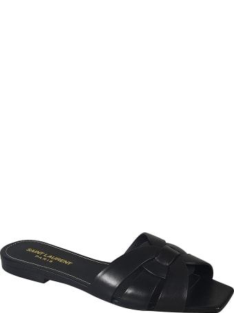 Saint Laurent Gathered Flat Sandals