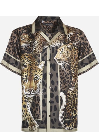 Dolce & Gabbana Hawaiian Silk Shirt With Leopard Print