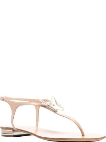 Casadei Nude Leather Flat Sandals