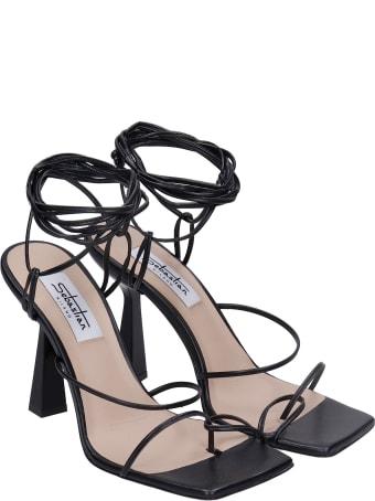 Sebastian Milano Sandals In Black Leather