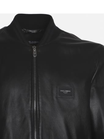 Dolce & Gabbana Leather Bomber Jacket With Logo Detail